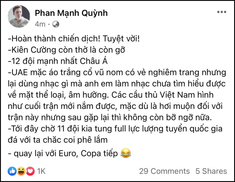 Sau trận Việt Nam - UAE: Á hậu Thúy Vân phán 'không công bằng', Phan Mạnh Quỳnh bóc phốt 'quả nhạc lạ' của đội bạn 4