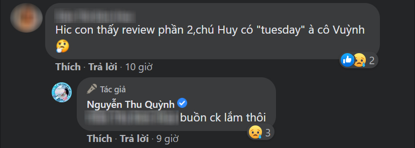 Thu Quỳnh cảm thán 'Buồn chồng lắm thôi' trước bình luận cho rằng Huy sẽ phản bội Thy