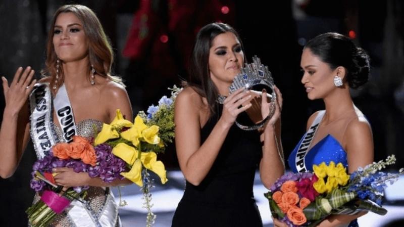 Hoa hậu Hoàn vũ Pia Wurtzbach bị 'tấn công' vòng 1 ngay trước mặt triệu người xem đài 7