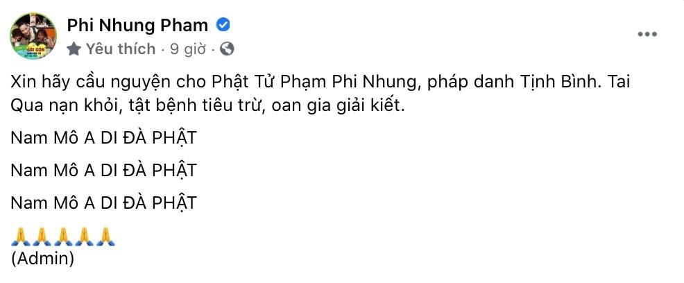 Bài đăng mới nhất của Fanpage Phi Nhung.