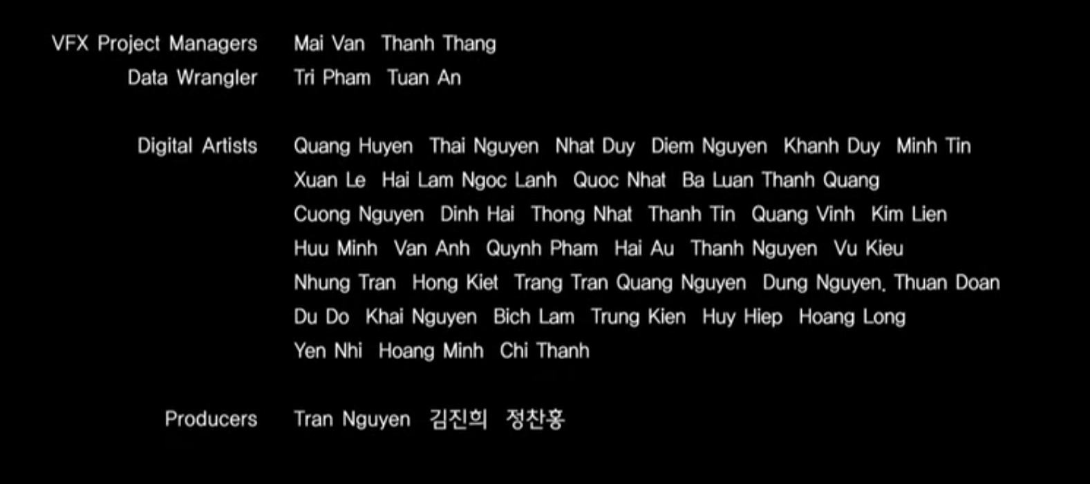 Tên người Việt xuất hiện trong credit kỹ xảo hình ảnh, sản xuất
