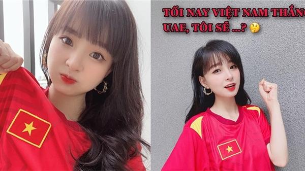 Streamer Mèo 2k4 diện áo cờ đỏ sao vàng, hứa sẽ post ảnh hôn người yêu nếu Việt Nam thắng UAE