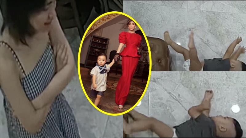 Bé Bo bất ngờ té bật ngửa từ trên ghế xuống đất, Hòa Minzy đứng nhìn một lúc rồi đứng... khoanh tay cười