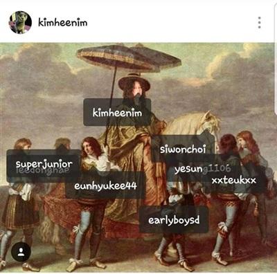 Bản thân Heechul cũng đăng tải một bức ảnh chế và tag tên các thành viên