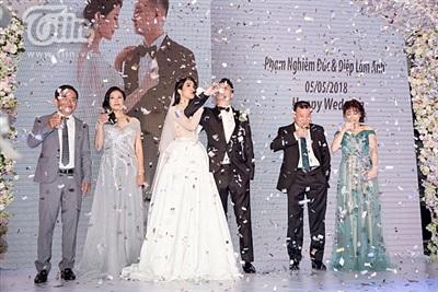 Diệp Lâm Anh xinh như công chúa, ngọt ngào hôn chú rể trong tiệc cưới xa hoa 19