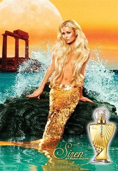 Paris Hilton là nàng tiên cá vàng đồng lấp lánh trên hình ảnh quảng cáo nước hoa Siren mà cô là chủ nhân.