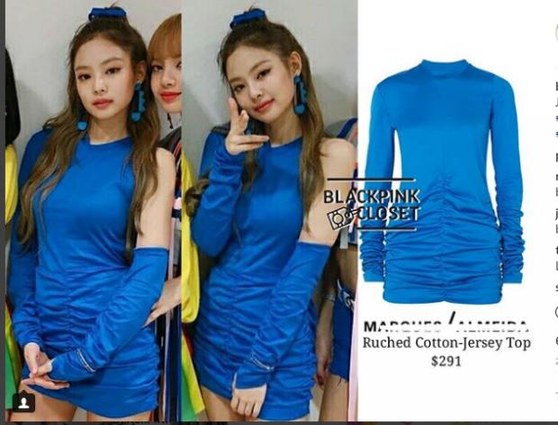 Váy xanh đơn giản giá 6 triệu VNĐ, hiếm khi thấy Jennie mặc váy rẻ như thế này.