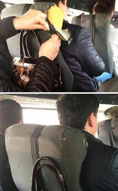 Người phụ nữ 'nữ công gia chánh' này đã ra taykhâu lại chiếc ghế xe bus bị rách.