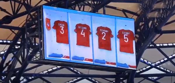 Ca khúc 'Tự hào Việt Nam' vang lên trong thời gian tuyển Việt Nam khởi động trước trận gặp Jordan 1
