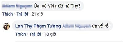 Bức ảnh mới nhất của Lan Thyđược check - in tại Sài Gòn và thông báo đã về đến Việt Nam của Lan Thy.