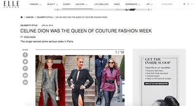 Báo Elle khẳng định Celine Dion là Nữ hoàng tại Paris Fashion Week