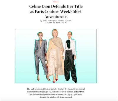 Các trang báo khác cũng không tiếc lời khen ngợi về gu thời trang của Celine Dion