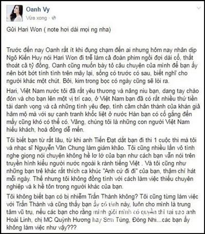 Một phần trong bài đăng dài của Vy Oanh về việc Hari Won đi trễ