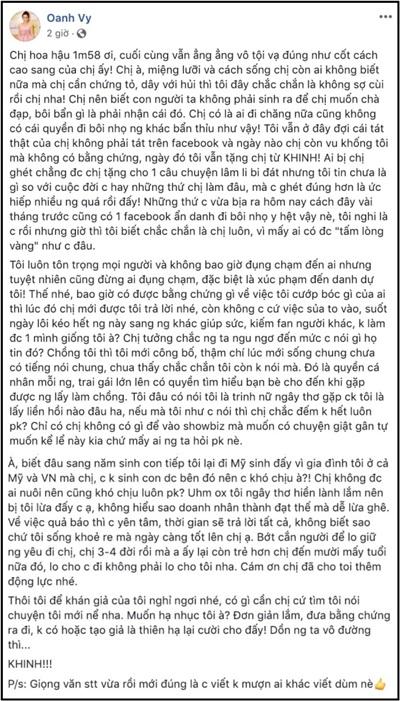 Trước bài đăng phản pháo của Hoa hậu Thu Hoài, Vy Oanh tiếp tục bày tỏ nỗi bức xúc trên trang cá nhân của mình. Giọng ca 33 tuổi phơi bày lại những chuyện đời tư của đàn chị như một cách để 'trả đũa' Thu Hoài.