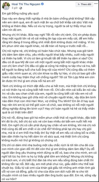 Bài đăng trên Facebook của Hoa hậu Doanh nhân