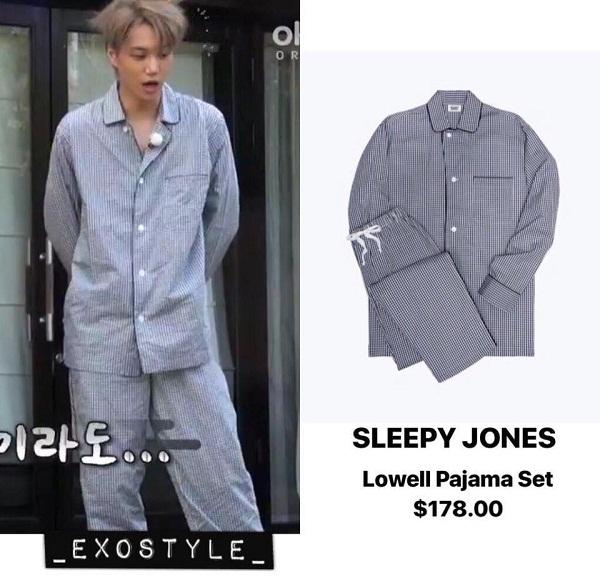 Kai rất ưa chuộng mẫu pyjama của nhãn hiệu cung cấp đồ ngủ nổi tiếng – Sleepy Jones, có giá khoảng 178 KRW (xấp xỉ 3,7 triệu VNĐ).
