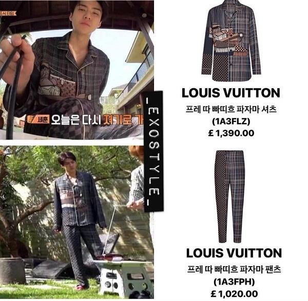 Set đồ ngủ Louis Vuitton mà Sehun diện trong EXO Lader Show có giá 2,410 Euro (gần 75 triệu VNĐ).
