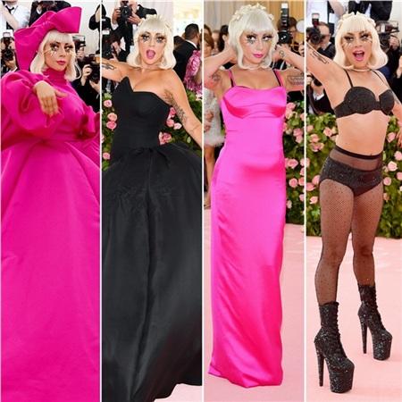 Lady Gaga với 4 trang phục hồng - đen - hồng - đen tại sự kiện Met Gala 2019.