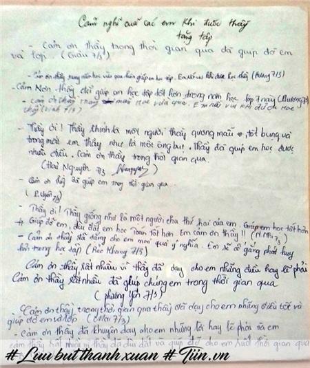 Những dòng lưu bút tặng thầy của các em học sinh lớp 7