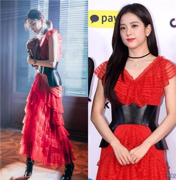 Thắng đậm khi diện chung kiểu váy với nữ thần nhan sắc của Black Pink - Jisoo.