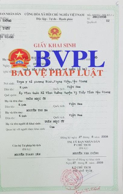 Giấy khai sinh của An (Nguồn Báo BVPL)