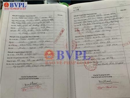 Sổ lưu đăng ký hộ tịch của An (Nguồn Báo BVPL)