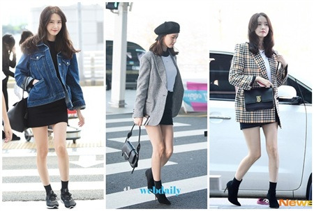 Công thức áo sơ mi + chân váy là một trong những sự kết hợp quen thuộc nhất của 'nữ thần SM'. Không hề hở tí da thịt nào những vẫn sang chảnh, thanh lịch, quả không ngoa khi nói rằng Yoona là một trong những người đẹp hàng đầu của SM