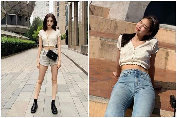 So với Jennie, Na Trát mix mẫu áo crotop đến từ thương hiệuUrban Outfitters đã khéo léo khoe được lợi thế chân dài miên man