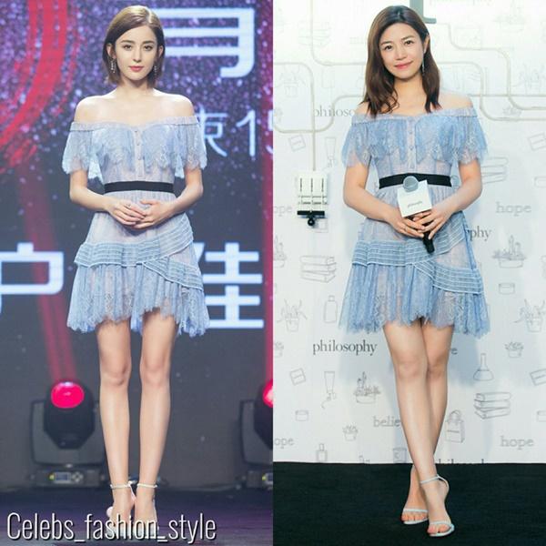 Màn đụng hàng đầu tiên dễ dàng nhận thấy Cổ Lực Na Trát 'thắng lớn' trước nữ diễn viên Trần Nghiên Hy với mẫu đầm màu xanh pastel trễ vai nữ tính