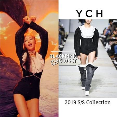 Bộ jumpsuit màu đen nằm trong BST Xuân/Hè 2019 đến từ thương hiệu YCH được Jennie diện trong một cảnh quay MV Kill this love gây sốt một thời được dân mạng 'đào mộ' lại.