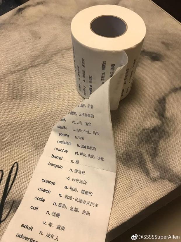 Một trường Đại học tại Trung Quốc đã nảy ra ý tưởng in các từ vựng lên cuộn giấy vệ sinh, nhằm cho các cô cậu học trò ôn luyện lúc 'làm chuyện ấy'. Ảnh: Lost Bird.