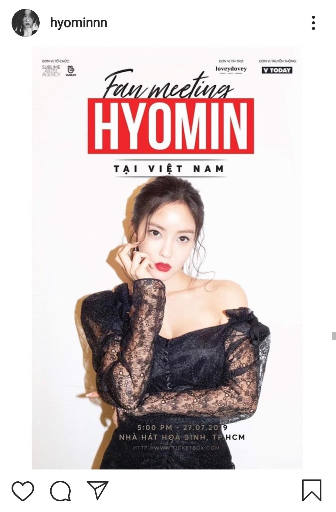 Bài thông báo fanmeeting in Vietnam trên instagram của HyoMin