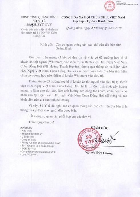 Công văn của Sở Y tế tỉnh Quảng Bình.