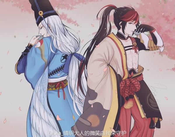 Tạo hình thường thấy của pháp sư Seimei (tóc trắng, dài) và võ sư Hiromasa (tóc đỏ nâu, cột cao).