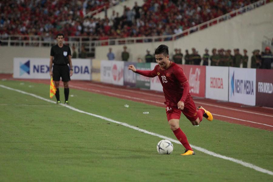 Quang Hải mở màn tỉ số 1 - 0 cho tuyển Việt Nam