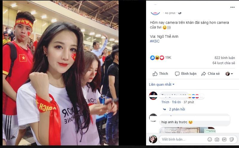 Bức ảnh selfie của cô nàng hot girl đăng tảitrên một fanpage có tiếng