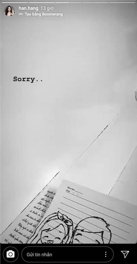 Nghi vấn Hàn Hằng xin lỗi người yêu vì những 'drama' vừa qua.
