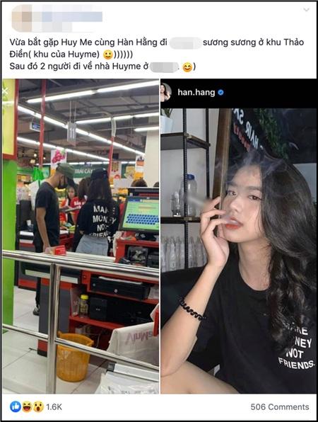 Trước đó, một tài khoản Facebook cho rằng đã bắt gặp Hàn Hằng đi siêu thị và về nhà cùng Huyme.