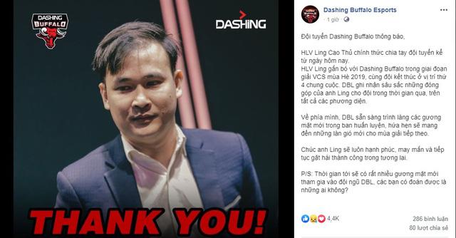 LMHT: HLV Ling Cao Thủ chia tay Dashing Buffalo chỉ sau một mùa giải 0