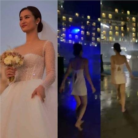 'Trùm cuối' đây rồi! Cô dâu Đông Nhi e thẹn trong giây phút làm lễ kết hôn cũng 'chơi tới bến' trong bữa tiệc đến rách toang cả áo, đi chân đất này!