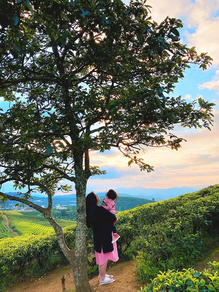 Tuệ Mẫn chụp ảnh cùng mẹ tại Đồi chè Cầu Đất