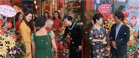 Gia đình Khuê xúng xính váy áo ngày khai trương nhà hàng.