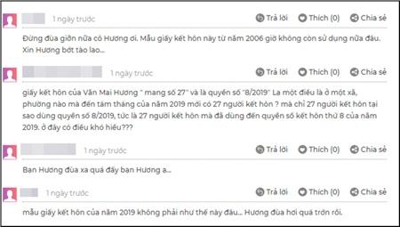Giấy đăng ký kết hôn Văn Mai Hương đăng tải và màn 'phản dame'của cư dân mạng