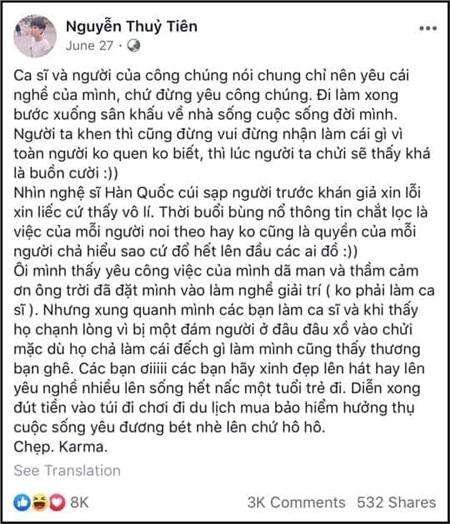 Bài viết khiến cư dân mạng phẫn nộ của Tiên Cookie