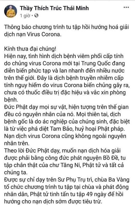 Thông báo về việc tu tập hồi hướng hóa giải nạn dịch virus corona của sư thầy Thích Trúc Thái Minh và chùa Ba Vàng. (Ảnh chụp màn hình).