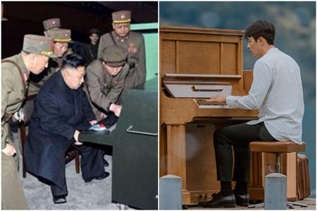 Hình ảnh hiếm hoi cho thấy nhà lãnh đạo Triều Tiên Kim Jong Un cũng rất có cảm hứng với cây đàn piano.