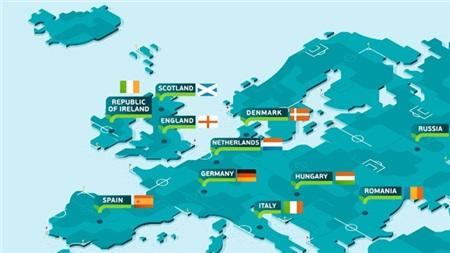 Euro 2020 sẽ được tổ chức ở 12 quốc gia trải khắp châu Âu.