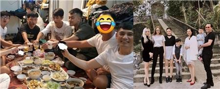 Cộng đồng mạng nghi vấn người đàn ông giấu mặt ngồi cạnh bố Sơn Tùng (ảnh trái) chính là bố Thiều Bảo Trâm (người đàn ông áo đenbên ảnh phải) vì những chi tiết như kiểu tóc, vóc dáng giống nhau.
