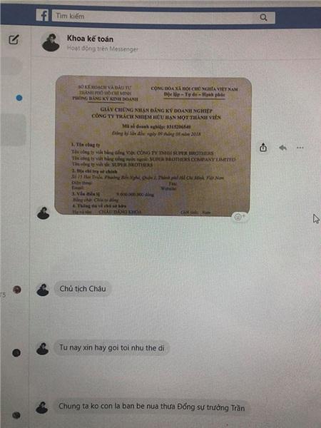 Châu Đăng Khoa chia sẻ giấy phép kinh doanh có tên mình mà không có tên Nemo.