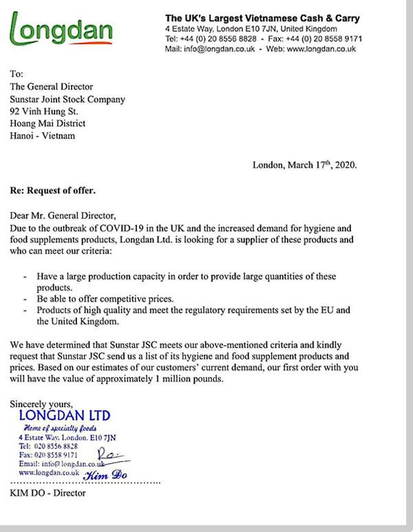 Chuỗi siêu thị Longdan tại Anh liên hệ đặt đơn hàng số lượng lớn cho các sản phẩm chống dịch của Sao Thái Dương